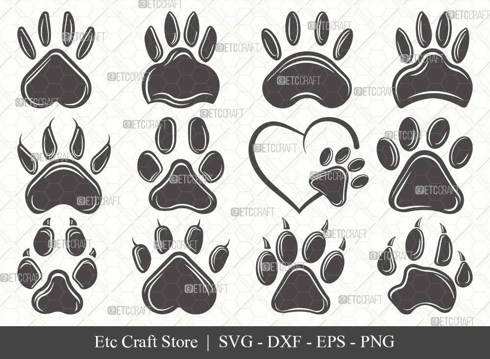Dog Paw Silhouette SVG Cut File | Paw Print Svg
