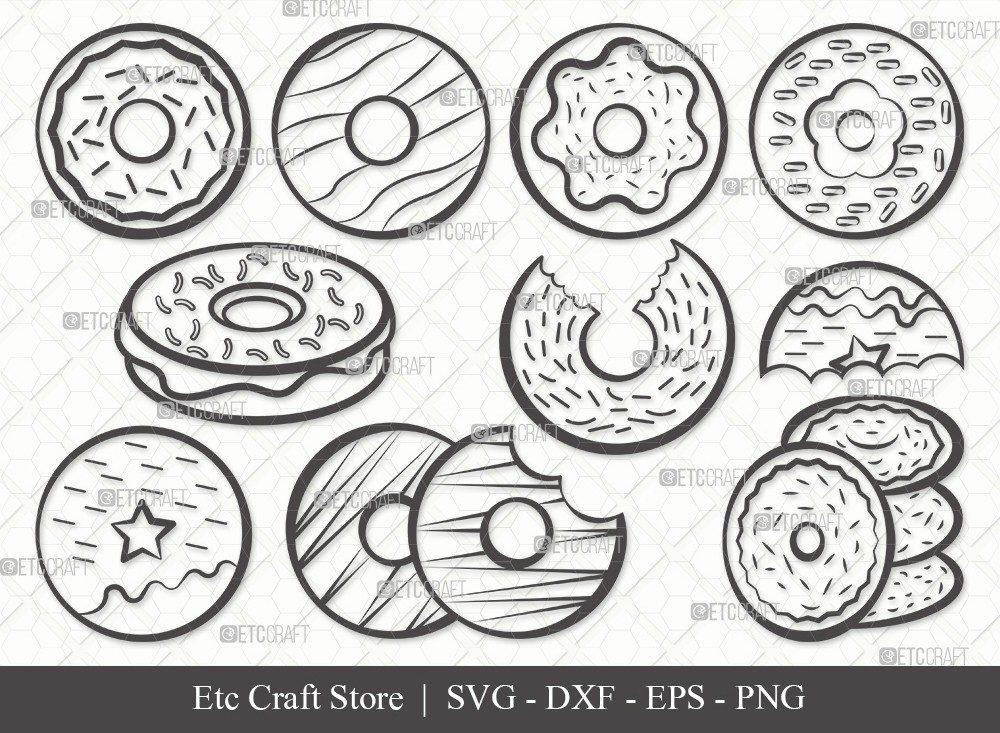 Donut Outline SVG Cut File | Doughnut Svg