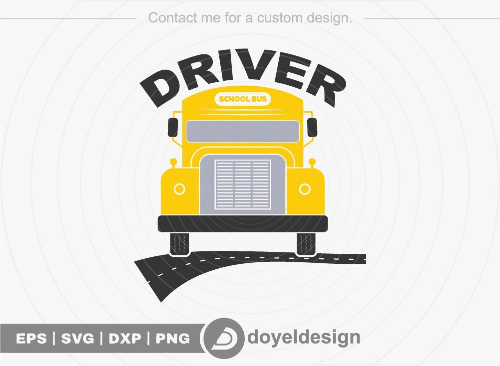 Driver SVG Cut File, School Bus T-shirt Design