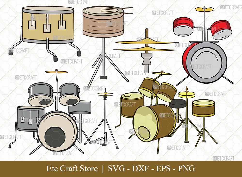 Drum Set Clipart SVG Cut File   Music Svg