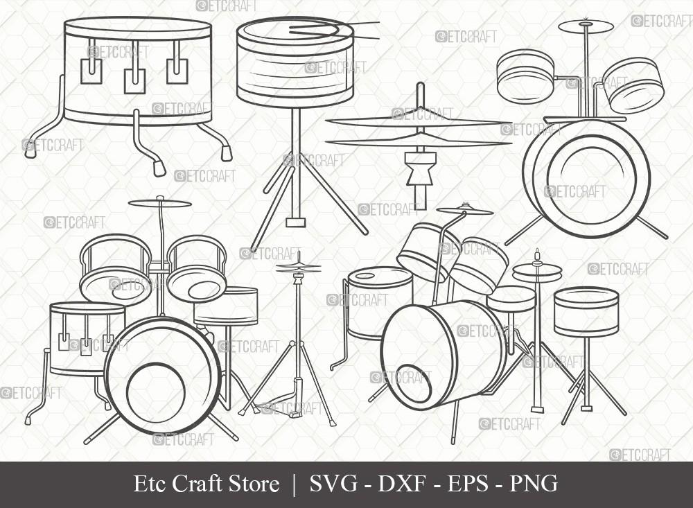 Drum Set Outline SVG Cut File | Music Svg
