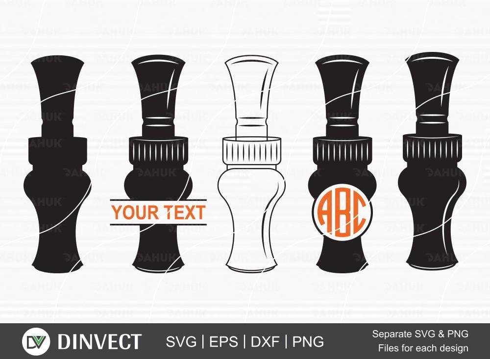 Duck Call SVG, Duck Call Split Silhouette, Wood duck calls Monogram
