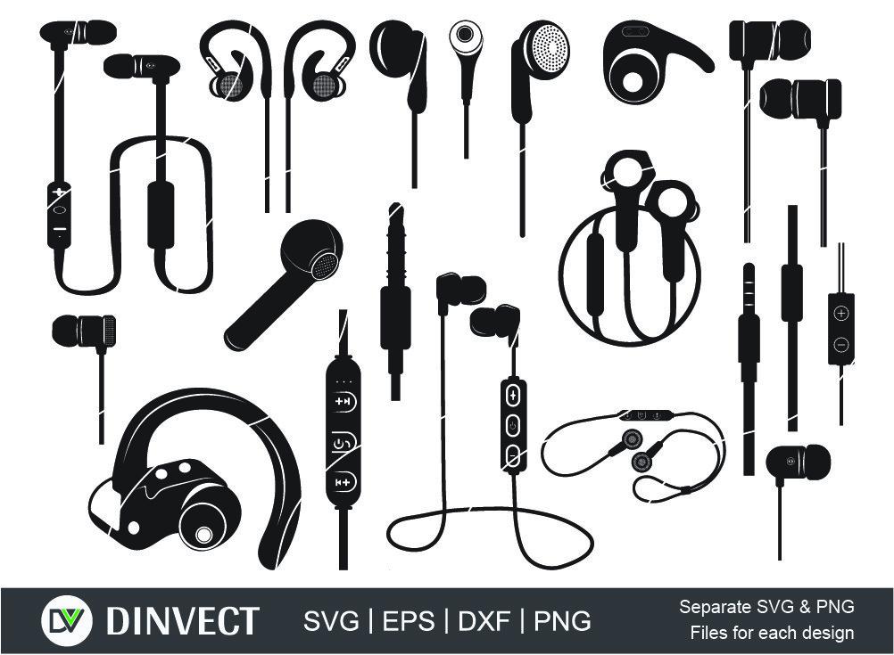 Earphones svg, wireless earphones svg, Cut file