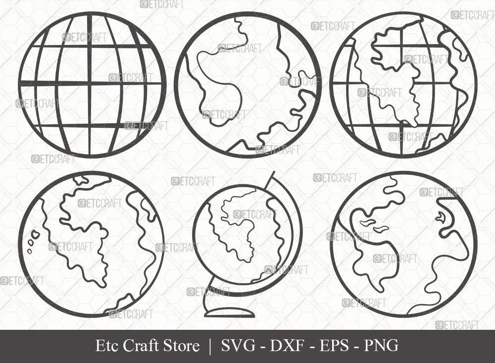 Earth Outline SVG Cut File | Planet Svg