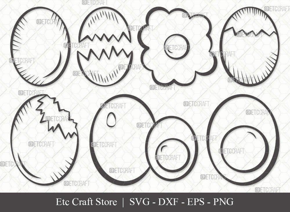 Egg Outline SVG Cut File | Cracked Egg Svg