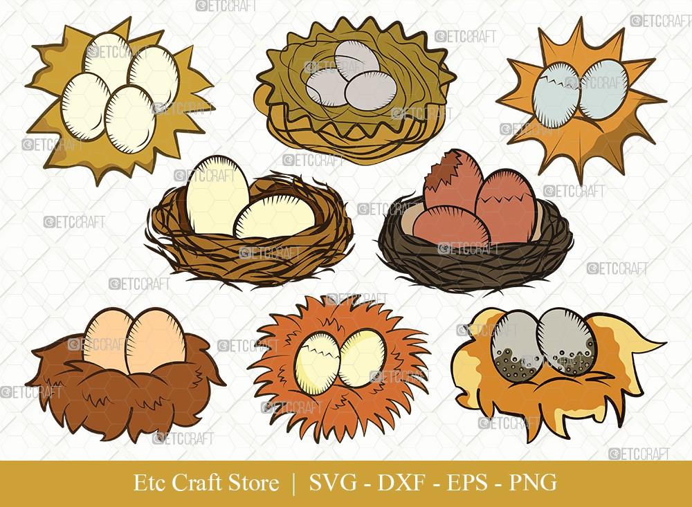 Eggs Nest Clipart SVG Cut File | Egg Svg
