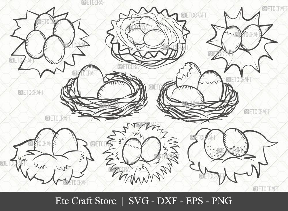 Eggs Nest Outline SVG Cut File | Egg Svg