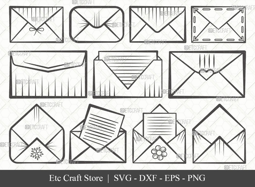 Envelope Outline SVG Cut File | Mail Svg