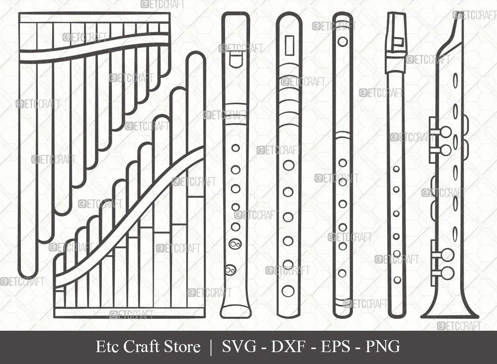 Flute Instrument Outline SVG Cut File
