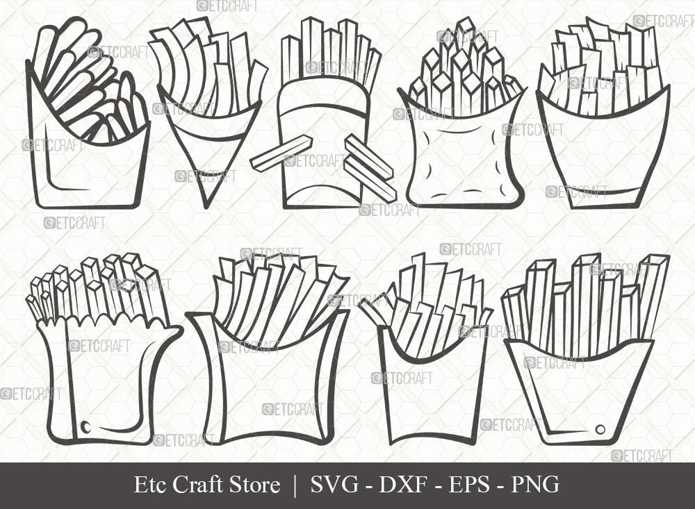 French Fries Outline SVG Cut File | Fries Svg