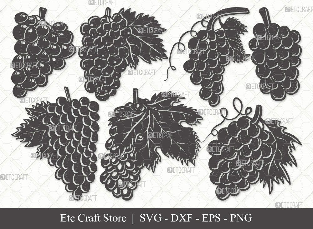 Grapes Silhouette SVG Cut File   Grape Svg