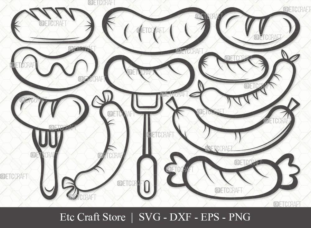 Grilled Sausage Outline SVG Cut File   Sausage Svg