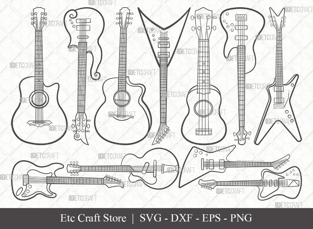 Guitar Outline SVG Cut File | Electric Guitar Svg