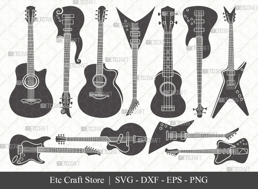 Guitar Silhouette SVG Cut File | Electric Guitar