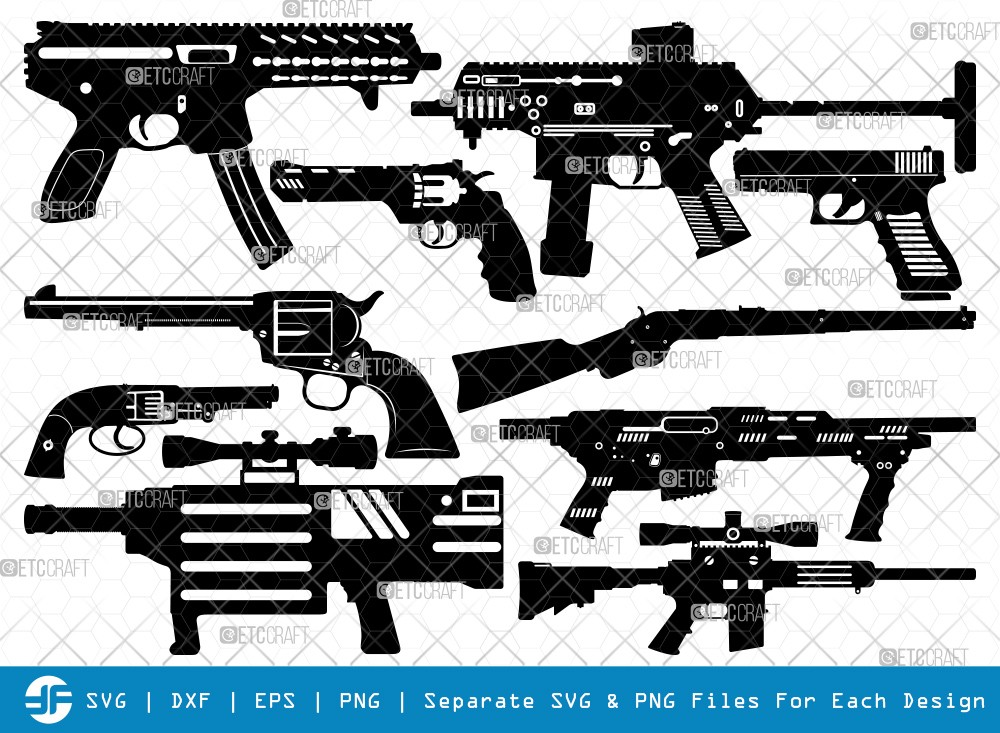 Gun SVG Cut Files   Revolver Silhouette