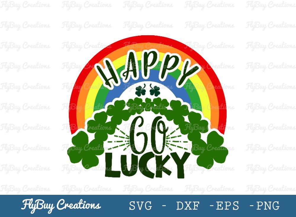 Happy Go Lucky SVG Cut File | Rainbow Svg