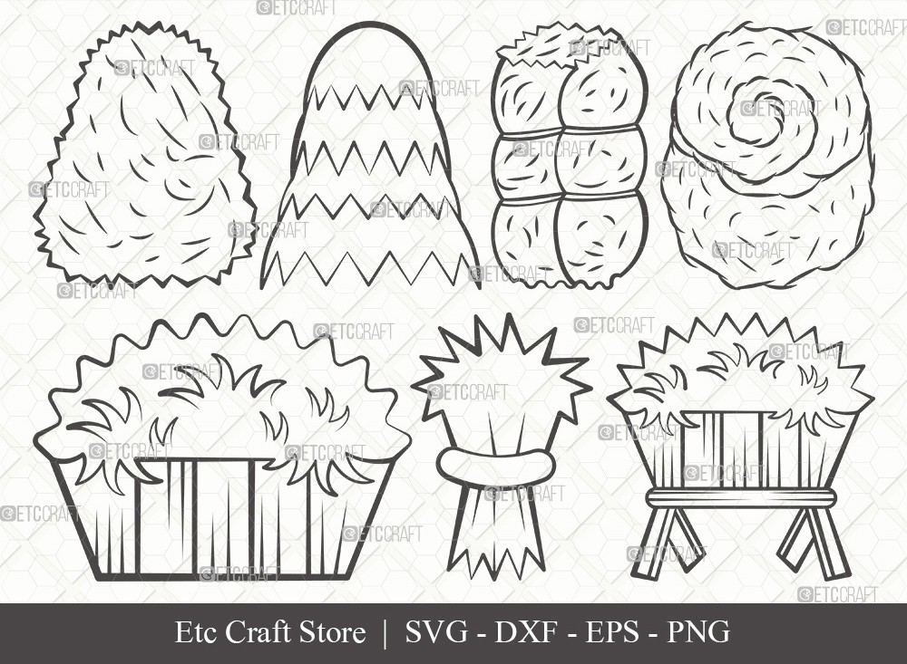Hay Outline SVG Cut File | Haystack Svg