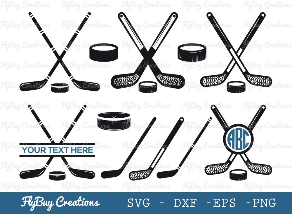 Hockey Puck Sticks SVG Cut File   Hockey Sticks