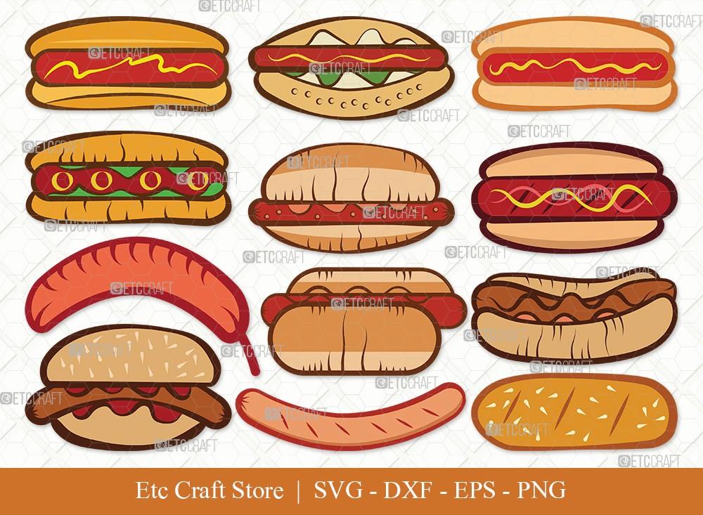 Hot Dog Clipart SVG Cut File   Fast Food Svg