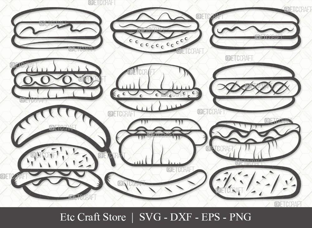 Hot Dog Outline SVG Cut File   Fast Food Svg