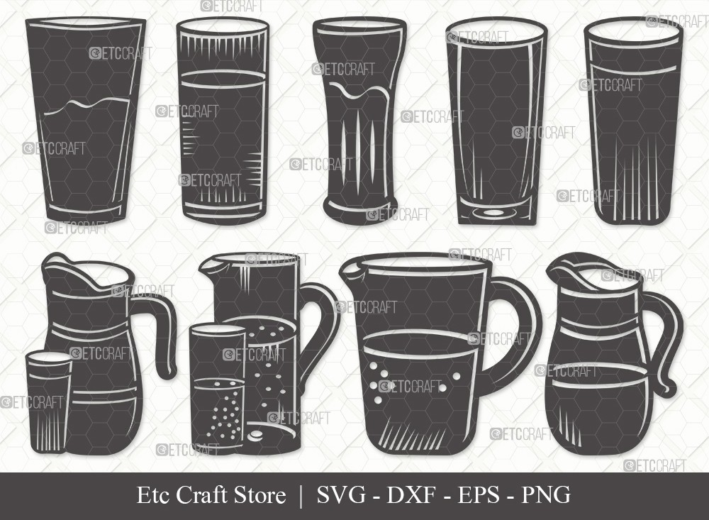 Jug With Glass Silhouette SVG Cut File
