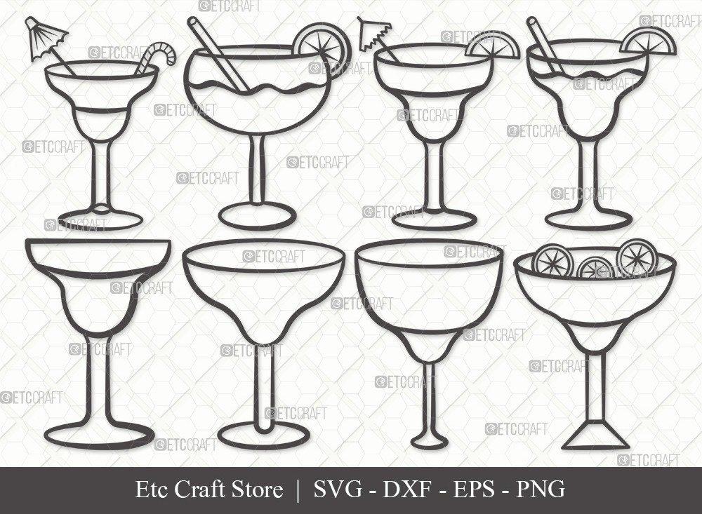 Margarita Glass Outline SVG Cut File