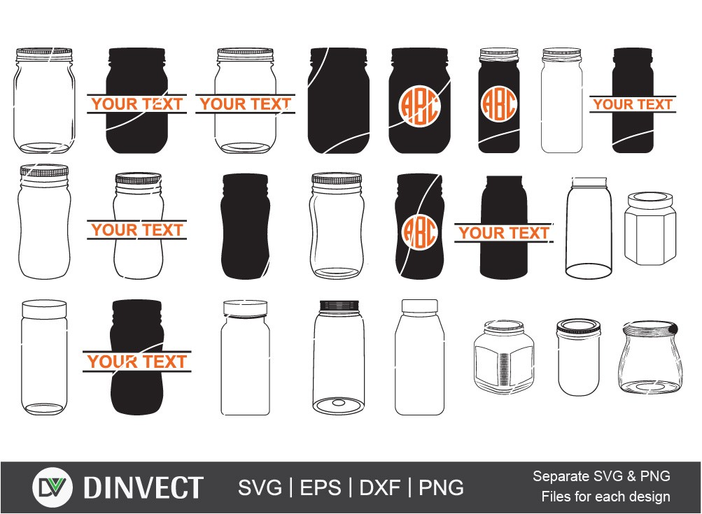 Mason Jar svg, Canning jar svg, Mason Jar Monogram
