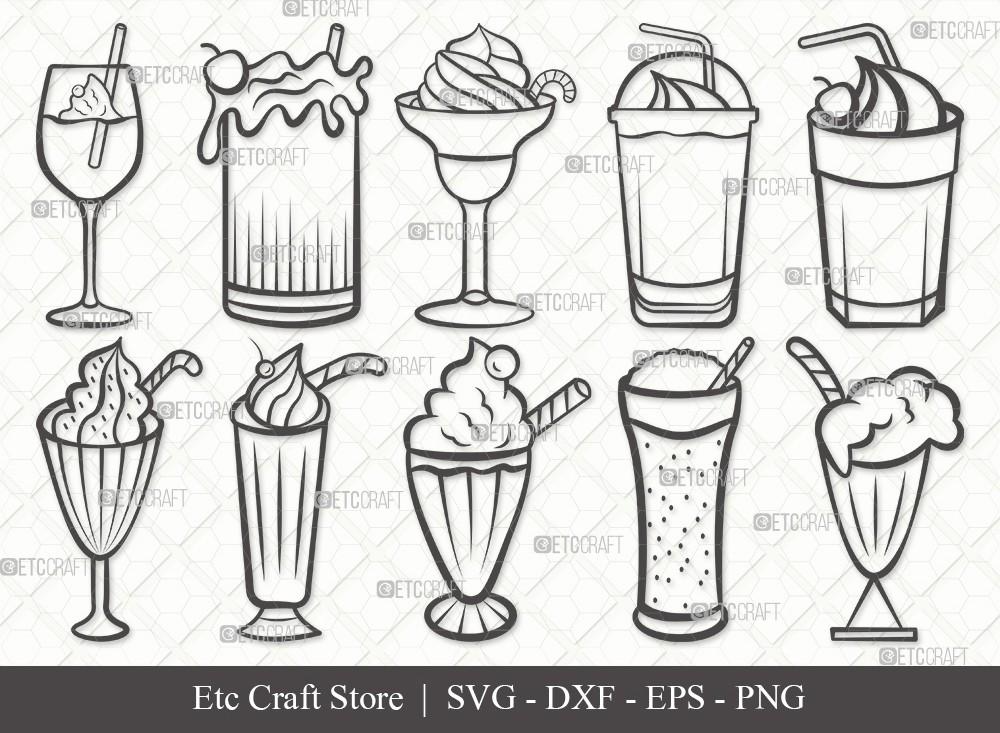 Milkshake Outline SVG Cut File   Drink Shake Svg