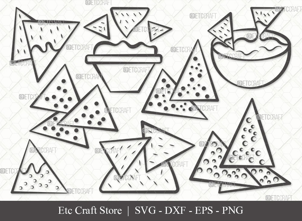 Nachos Outline SVG | Nacho With Cheese Svg