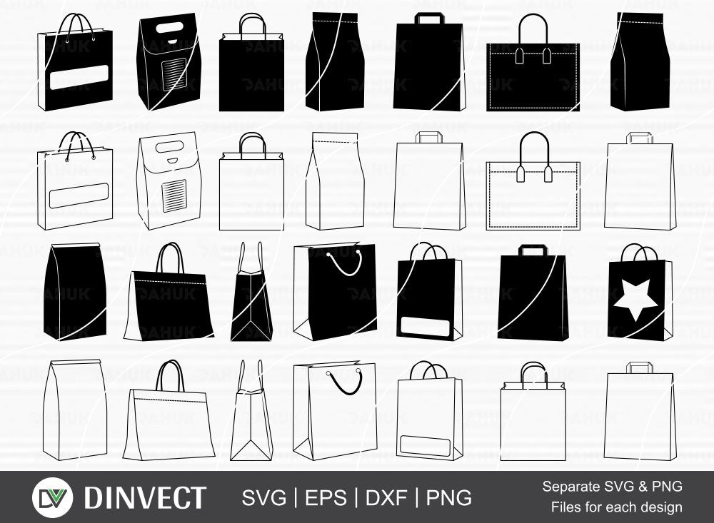 Paper Bag Bundle SVG, shopping bag Silhouette