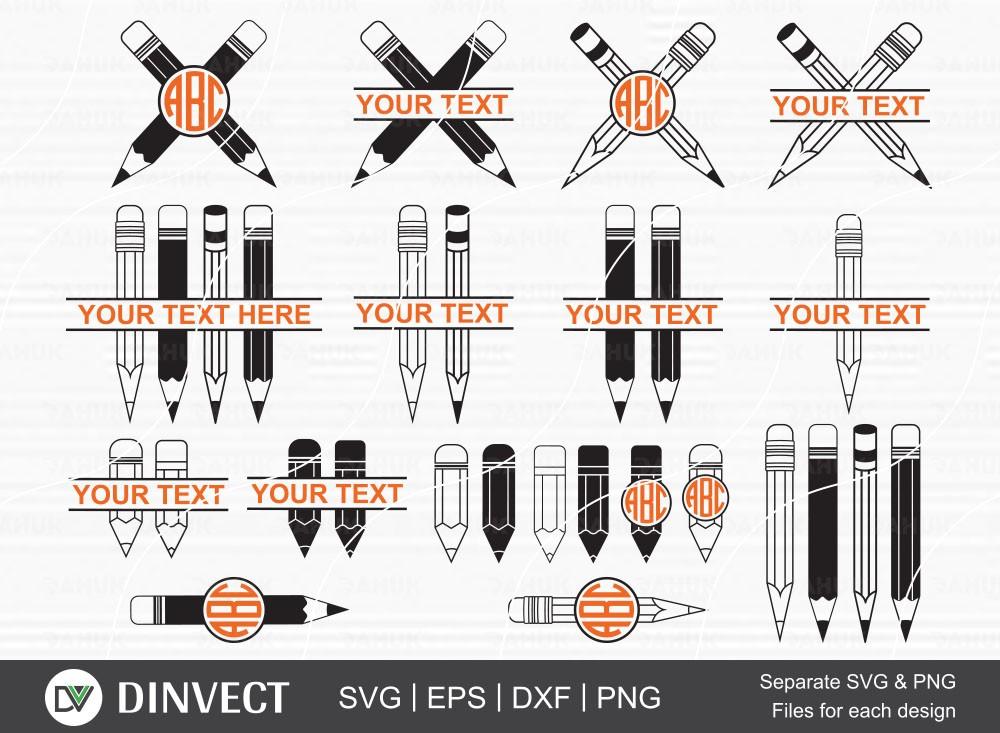 Pencil SVG bundle, Pencil Monogram Clipart, School Silhouette