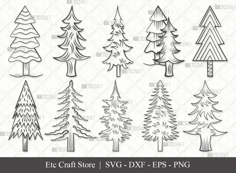 Pine Tree Outline SVG Cut File | Pine Svg