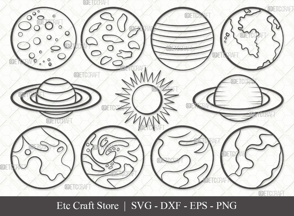 Planet Outline SVG Cut File | Earth Svg