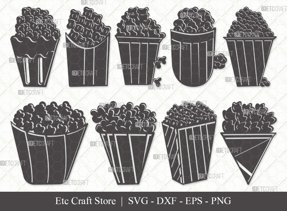 Popcorn Silhouette SVG Cut File | Popcorn Svg