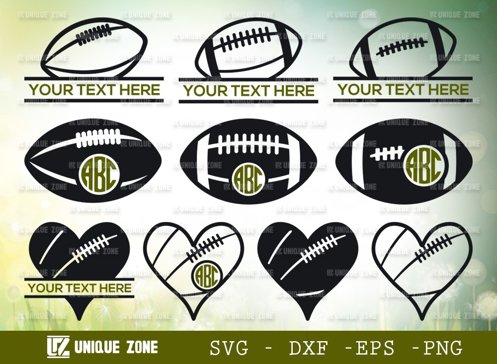 Rugby Ball Monogram SVG Cut File