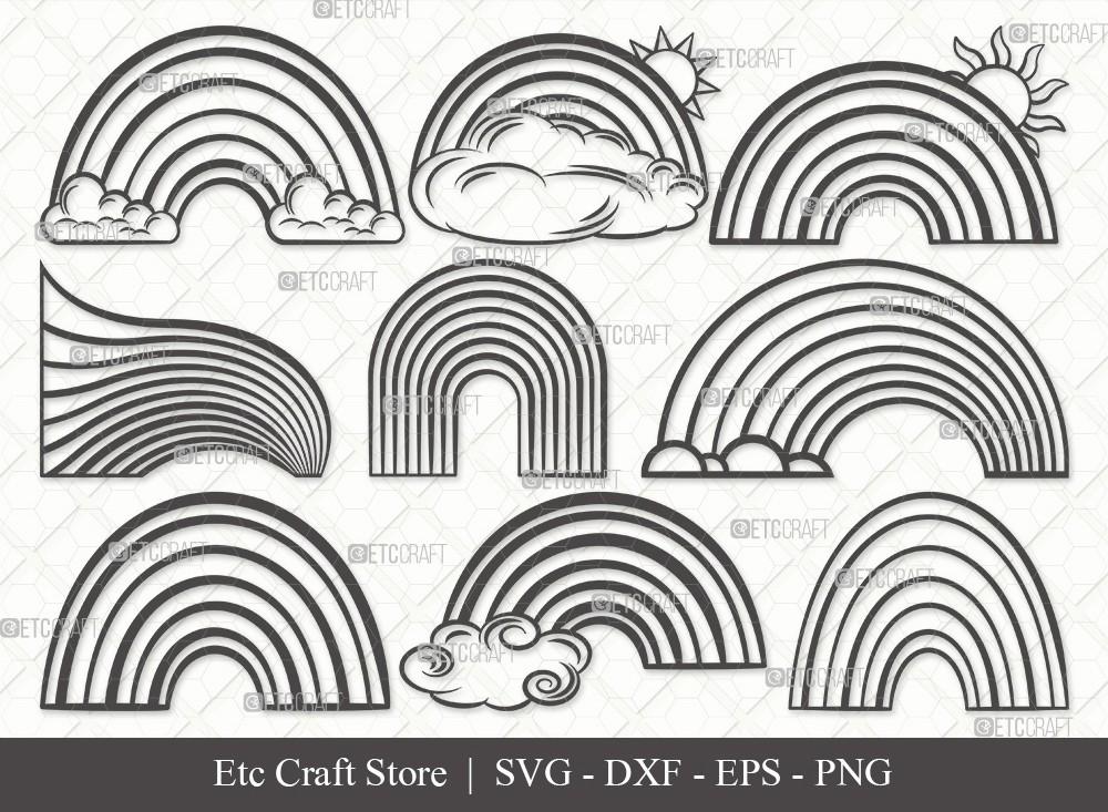 Rainbow Outline SVG Cut File | Rainbow Svg