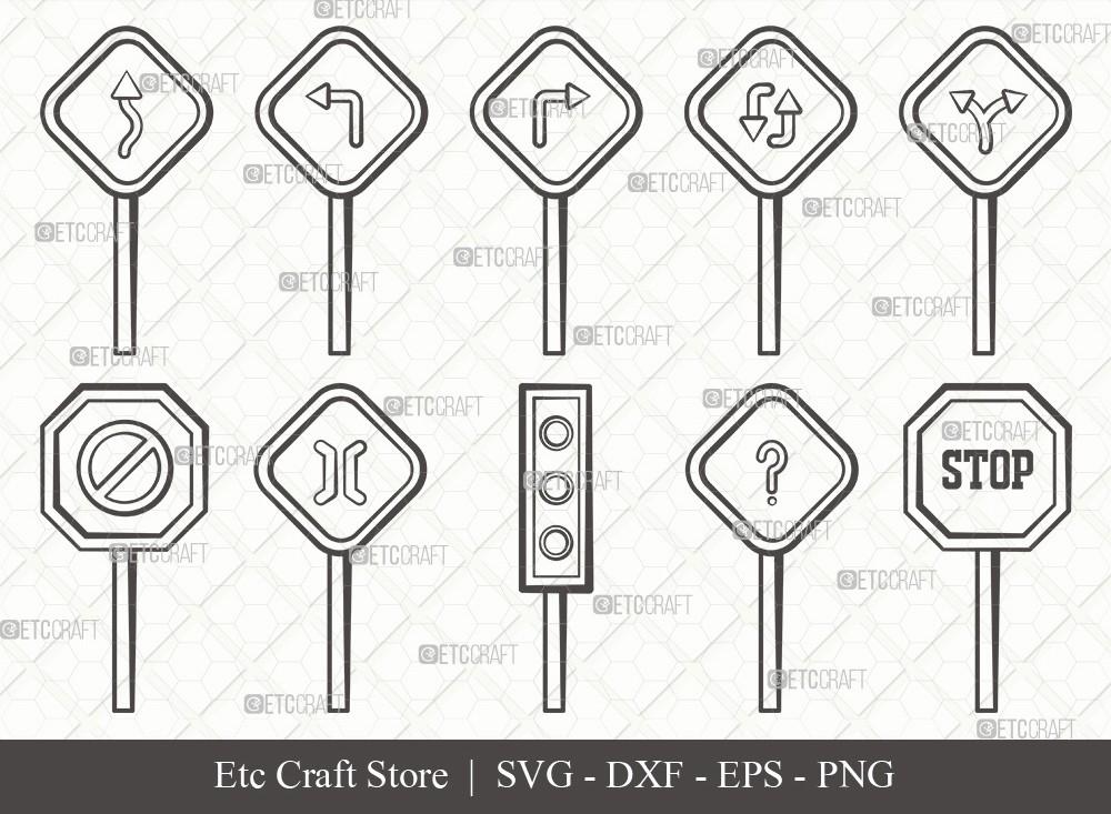 Road Sign Outline SVG Cut File | Road Sign Svg