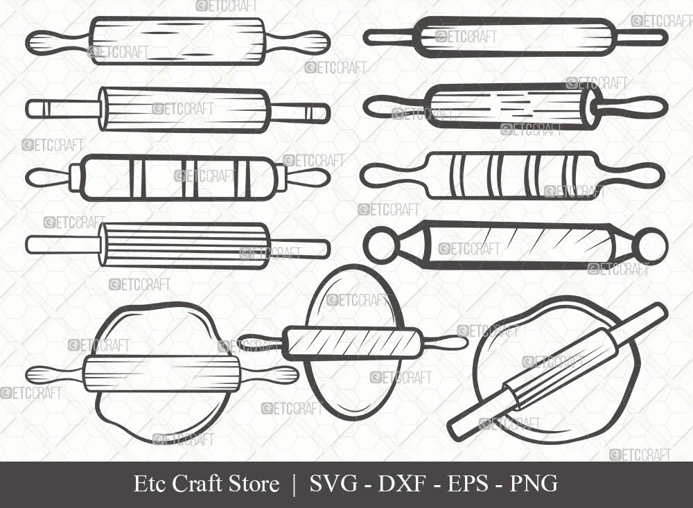 Rolling Pin Outline SVG Cut File | Kitchen Svg