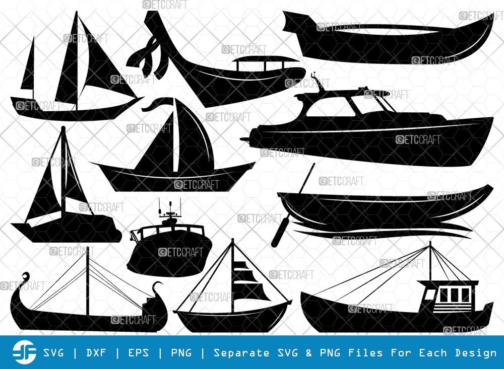 Sea Boats SVG Cut Files | Boat Silhouette