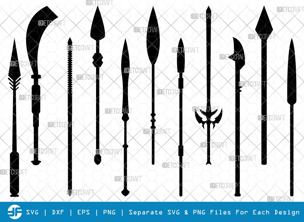 Spear SVG Cut Files | Weapon Silhouette