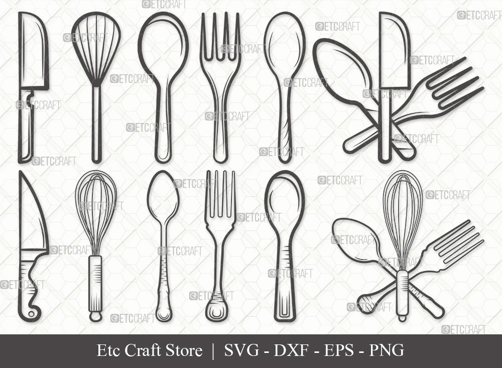 Spoon Outline SVG Cut File | Fork Svg