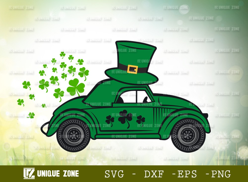 St Patricks Day Car With Hat SVG Cut File