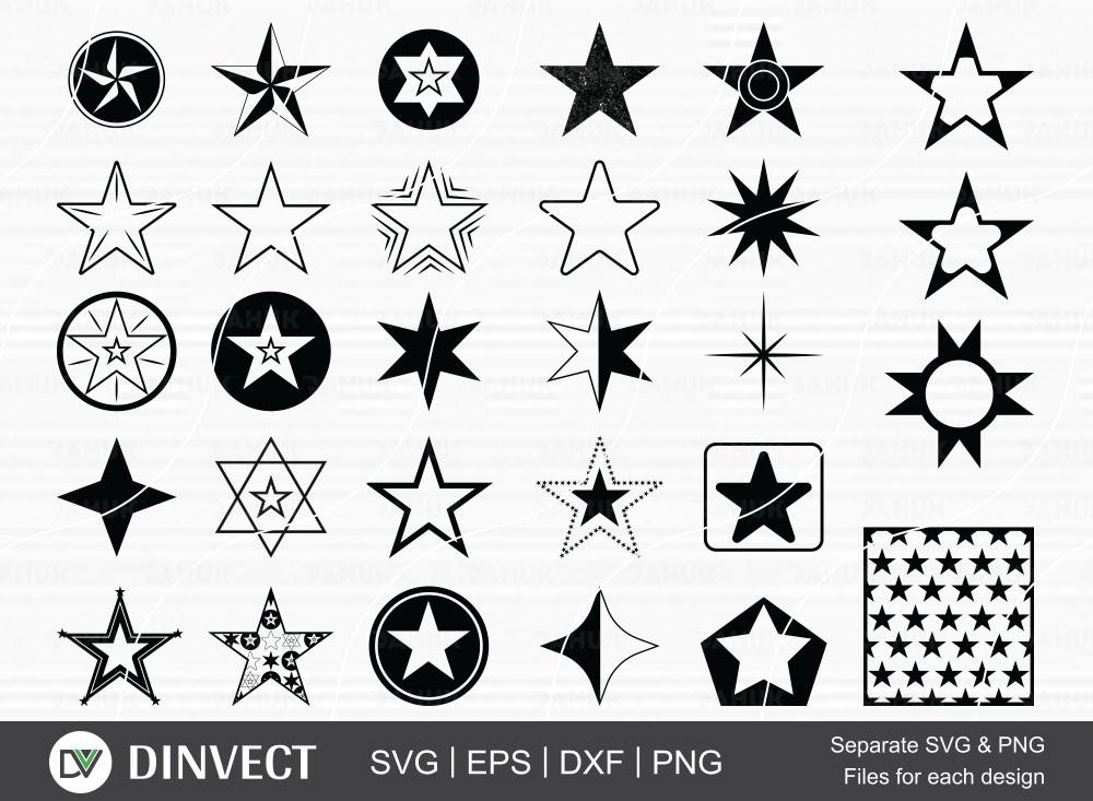 Star bundle SVG, Star silhouette, pentagram clipart