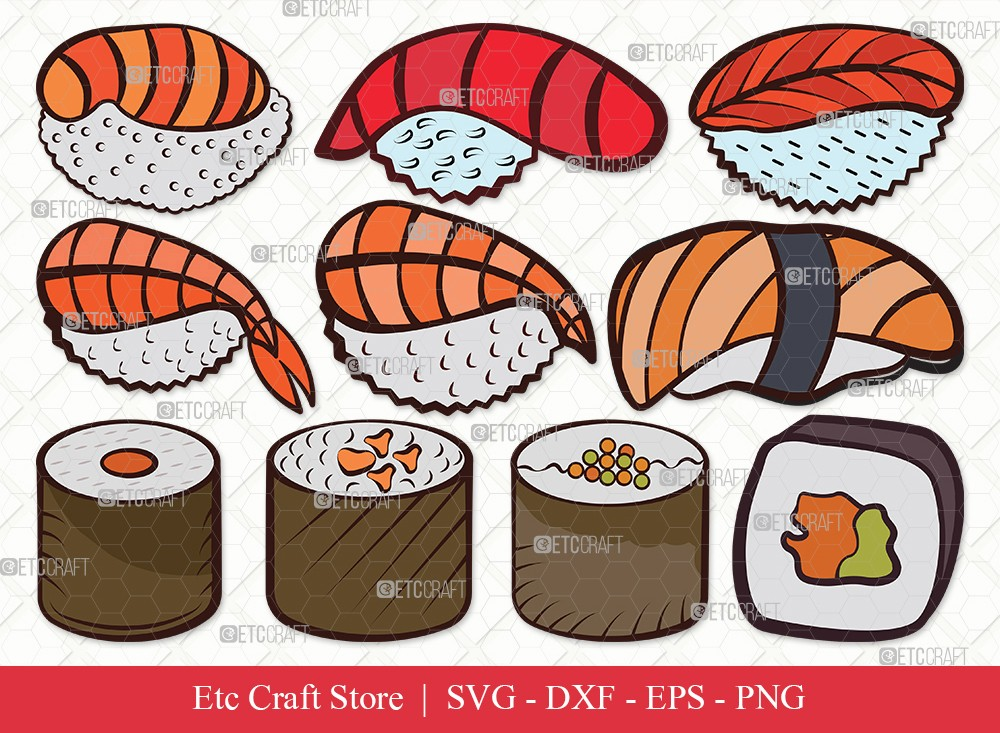 Sushi Clipart SVG Cut File | Nigiri and Soy Sauce Svg