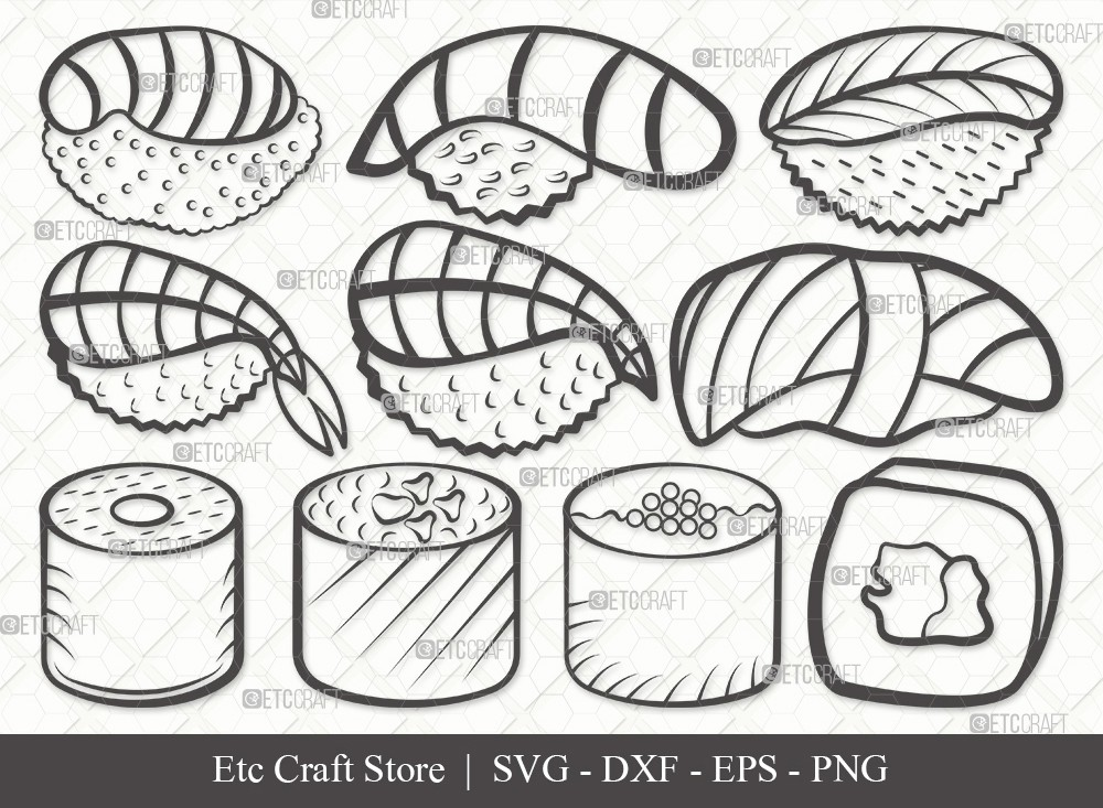 Sushi Outline SVG Cut File | Nigiri and Soy Sauce Svg