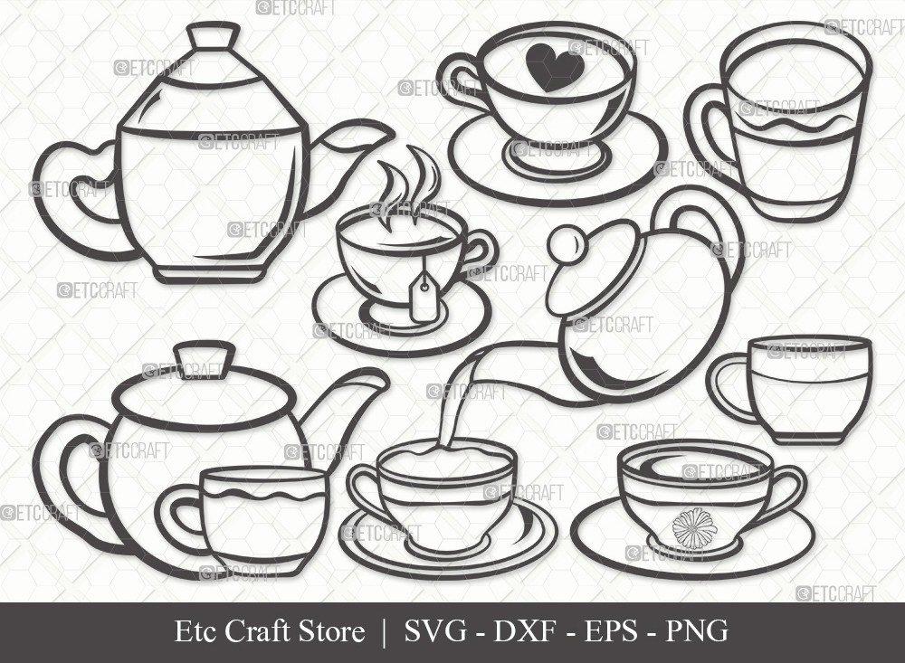 Tea Set Outline SVG Cut File | Tea Cup Svg