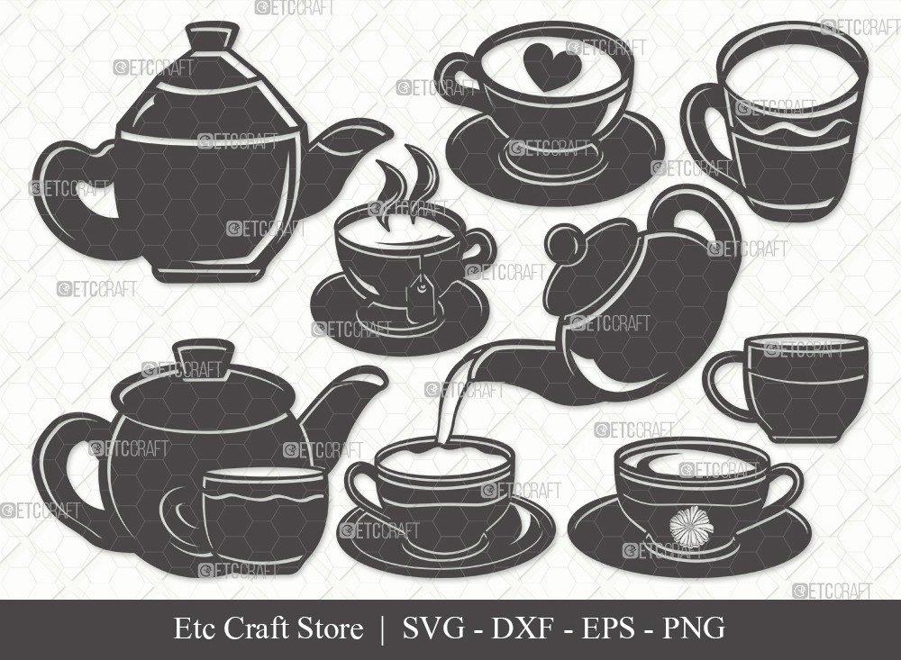 Tea Set Silhouette SVG Cut File | Tea Cup Svg