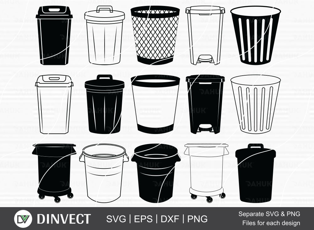 Trash Bin bundle SVG, Rubbish bin Silhouette, Trash Can Clipart