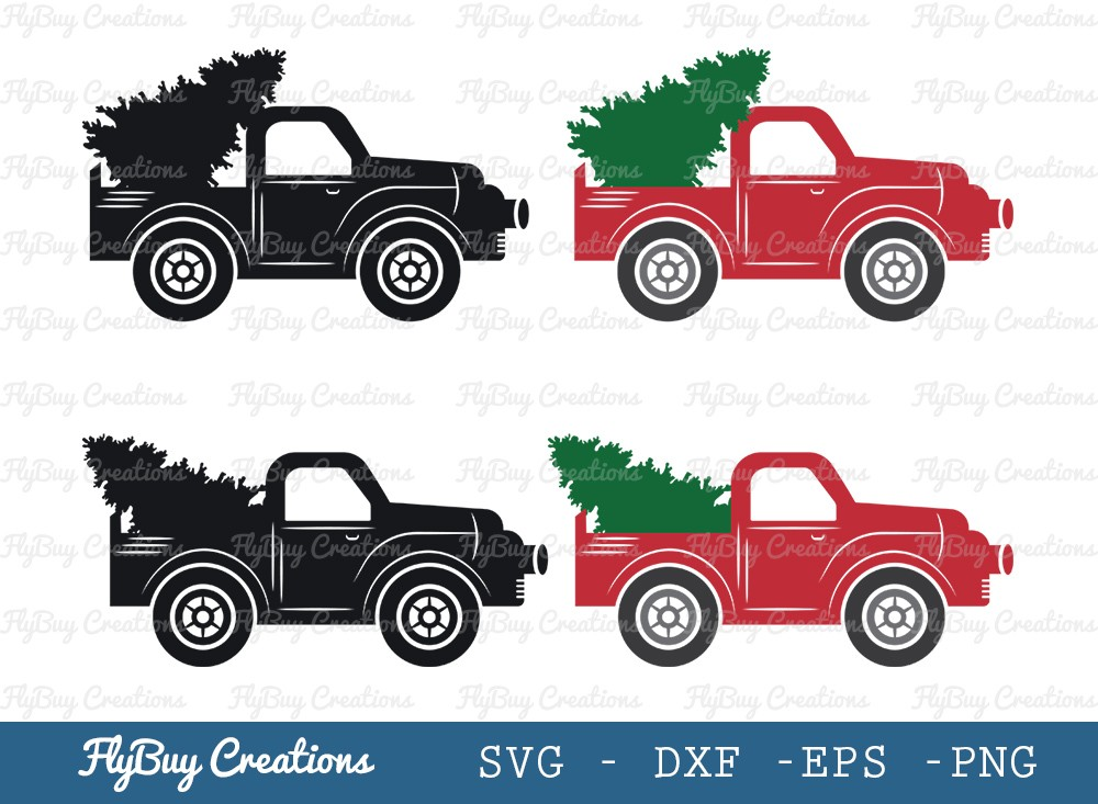 Truck With Christmas Tree SVG Cut File