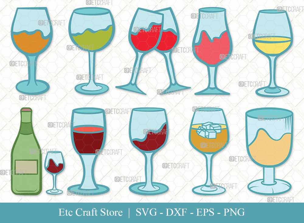 Wine Glass Clipart SVG Cut File   Drinking Glass